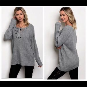 Gray Loose Fit Lightweight Lace Tie Sweater